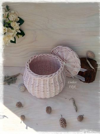 Плетеная шкатулка 'Бочонок' ручной работы на заказ