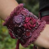 Браслет текстильный в стиле бохо В лиловых отблесках рассвета