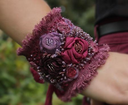 Браслет текстильный в стиле бохо В лиловых отблесках рассвета ручной работы на заказ