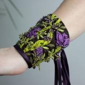 Браслет текстильный с объемной вышивкой Где-то в цветочной долине