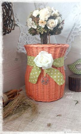 Плетеная корзина 'Оранжевое настроение' ручной работы на заказ