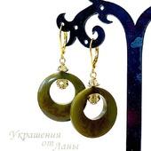 Серьги из ореха тагуа оливковые