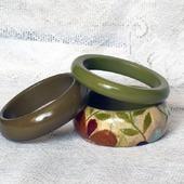 Комплект браслетов Оливковый декупаж