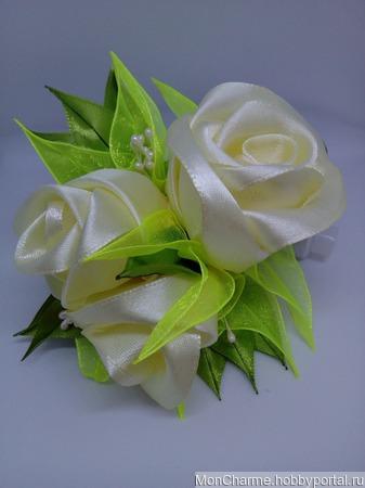 "Заколка с розами ""Весенняя рапсодия"" ручной работы на заказ"