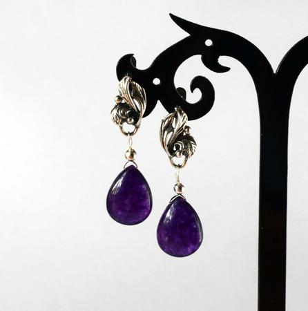 Серьги из кварца фиолетовые ручной работы на заказ