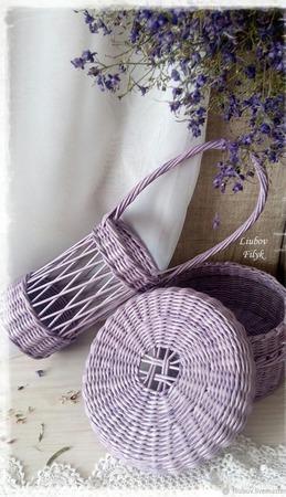 Набор плетеных корзин 'Нежная сирень' ручной работы на заказ