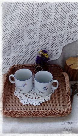Плетеный поднос 'Солнечное утро' ручной работы на заказ