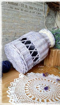 Ваза плетеная ажурная 'Черничный смузи' ручной работы на заказ