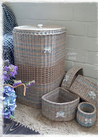 Плетеный короб для белья (набор) ручной работы на заказ