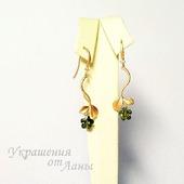 Серьги Цветы цирконы позолота