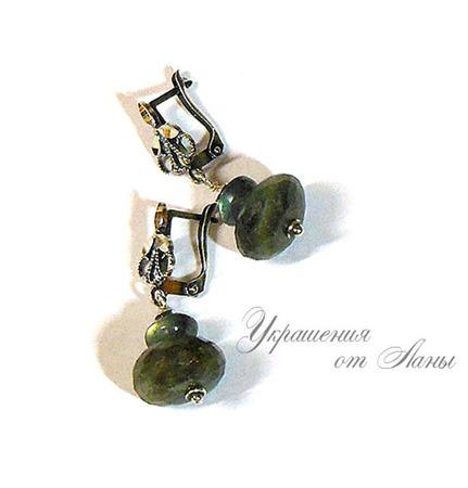 Серьги с лабрадором серебряные ручной работы на заказ