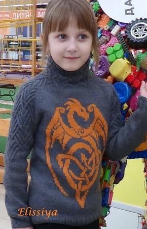 Описание детского свитшота DRAGON ручной работы на заказ