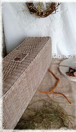 Большой плетеный короб 'Старые  воспоминания' ручной работы на заказ