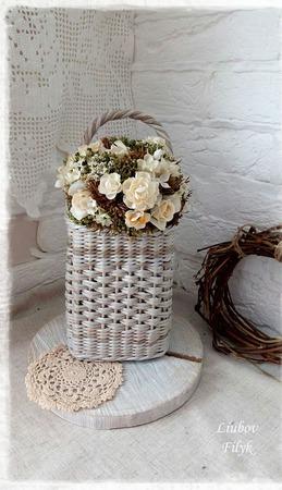 Плетеная корзинка настенная Gray ручной работы на заказ