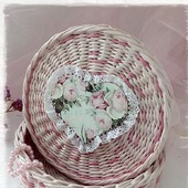Плетеная шкатулка 'Нежная роза'