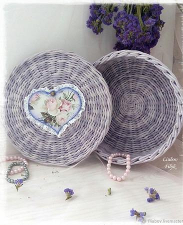 Плетеная шкатулка 'Нежная роза' ручной работы на заказ