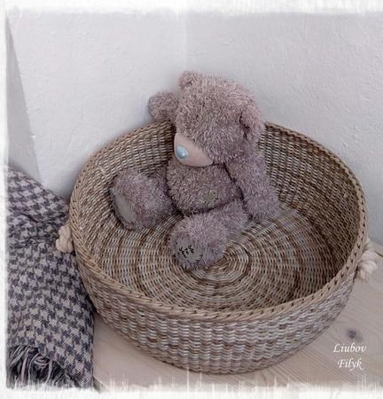 Большая плетеная корзина  'Pastel' ручной работы на заказ