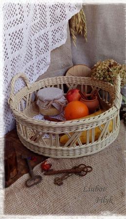 """Плетеный ажурный поднос """" Нежный завтрак"""" ручной работы на заказ"""
