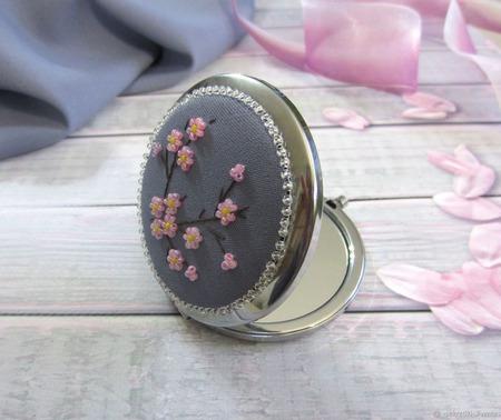 """""""Сакура"""" зеркальце карманное ручной работы на заказ"""
