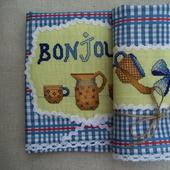 Полотенце с вышивкой и кружевом Французский завтрак,полотенце кухонное