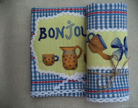 Полотенце с вышивкой и кружевом Французский завтрак,полотенце кухонное ручной работы на заказ