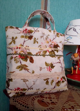 Текстильная экосумочка для покупок. Авоська с короткими ручками. ручной работы на заказ