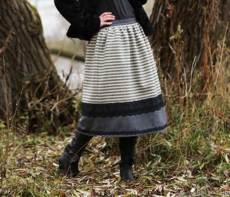 Шерстяная юбка на зиму. ручной работы на заказ