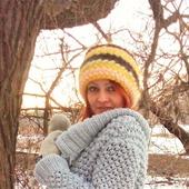 Шапка вязанная из мохера. Невероятно теплая шапка!