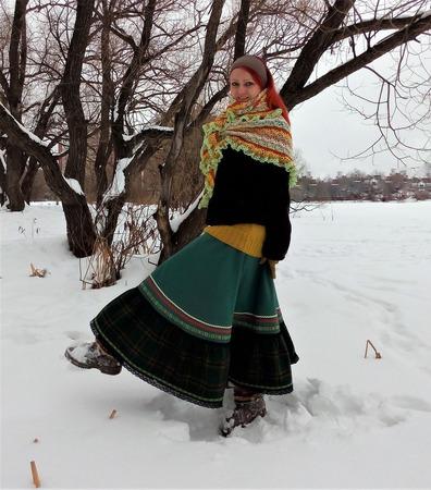 Юбка шерстяная в стиле бохо. ручной работы на заказ