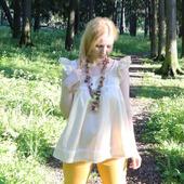 Блузка из батиста бежевая. Блуза в стиле бохо, хиппи. Тонкая блузка