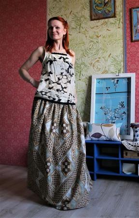 Длинная юбка из хлопка на лето ручной работы на заказ
