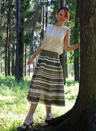 Юбка Кружевель зеленая ручной работы на заказ