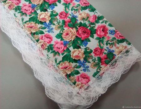 Скатерть любой формы в стиле Прованс из хлопка с кружевом ручной работы на заказ