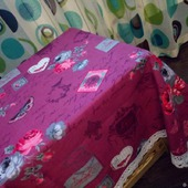 Скатерть хлопковая из рогожки в стиле Прованс с широким кружевом