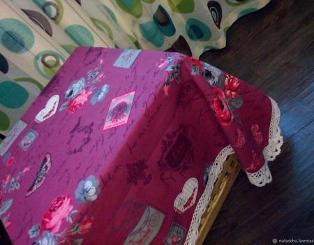 Скатерть хлопковая из рогожки в стиле Прованс с широким кружевом ручной работы на заказ