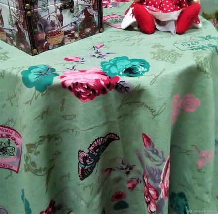 Скатерть хлопковая с кружевом в стиле Прованс ручной работы на заказ
