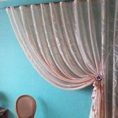 Штора из полуорганзы цвета латте. Легкая, полупрозрачная штора