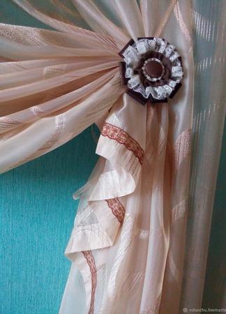 Штора из полуорганзы цвета латте. Легкая, полупрозрачная штора ручной работы на заказ