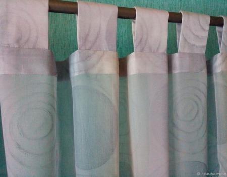 Шторы. 2 штуки. Легкие шторы из серой вуали на петлях. ручной работы на заказ