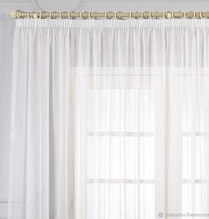 Легкая штора из белой вуали в интерьеры от Прованса до Модерна ручной работы на заказ