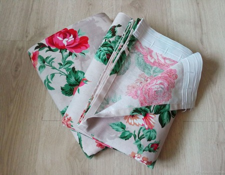 Розы в алом цвете. Прованс. Шторы из хлопка. Красивые шторы. ручной работы на заказ