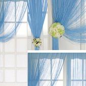 Оригинальная штора из нитей голубого цвета
