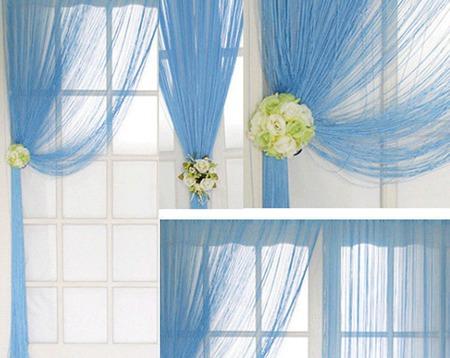 Оригинальная штора из нитей голубого цвета ручной работы на заказ