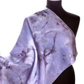 Платок шейный шелковый серо сиреневый жаккард