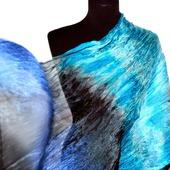 Шарф сине бело голубой с черным, подарок женщине