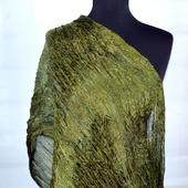 Зеленый хаки шарф, зеленый жатый шелковый шарф для женщин, мятый хаки
