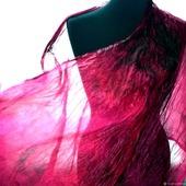 Шарф малиновый с бордовым, палантин подарок женщине