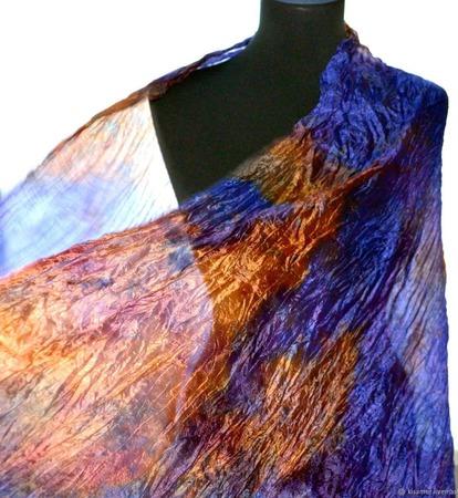 Шарф женский шелковый сине фиолетово оранжевый шарф длинный ручной работы на заказ