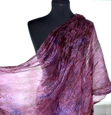 Шарф палантин женский натуральный шелк подарок женщине ручной работы на заказ