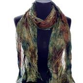 Шелковый шарф зелено коричневый,подарок женщине